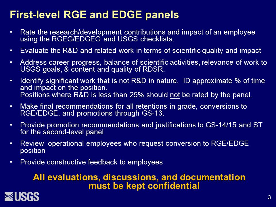First-level RGE and EDGE panels