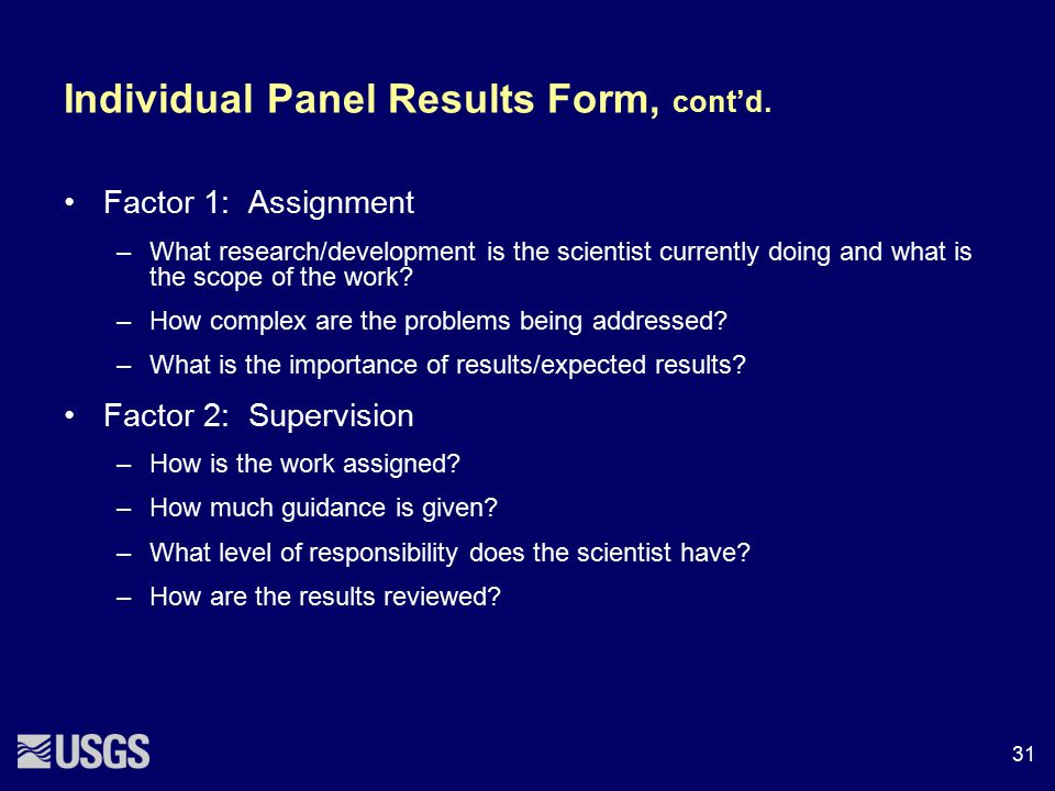 Individual Panel Results Form, cont'd.