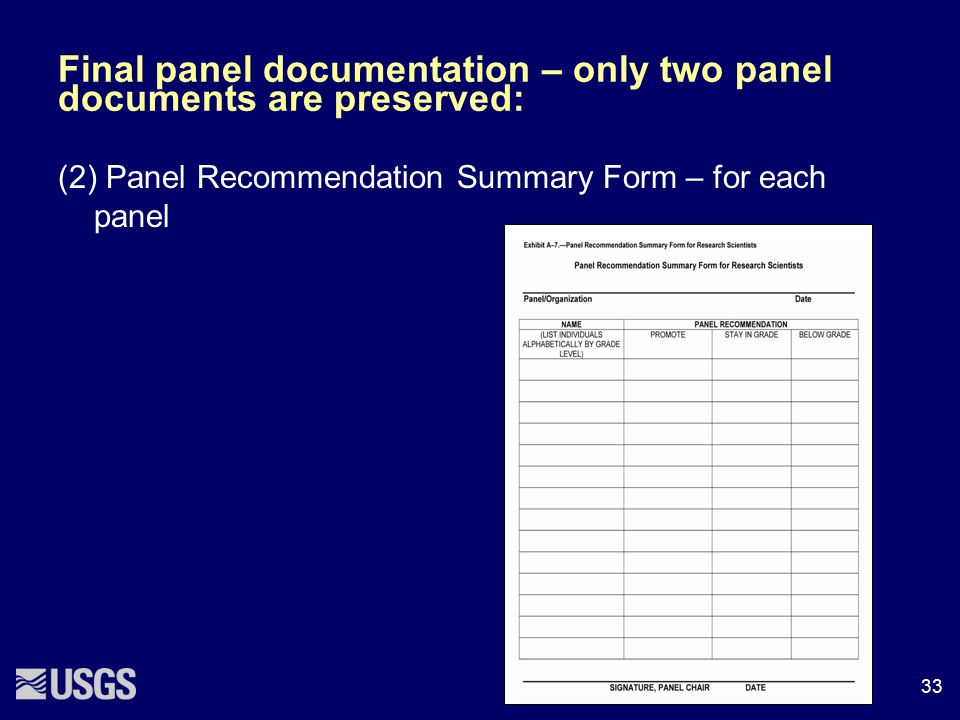 Final panel documentation – only two panel documents are preserved: