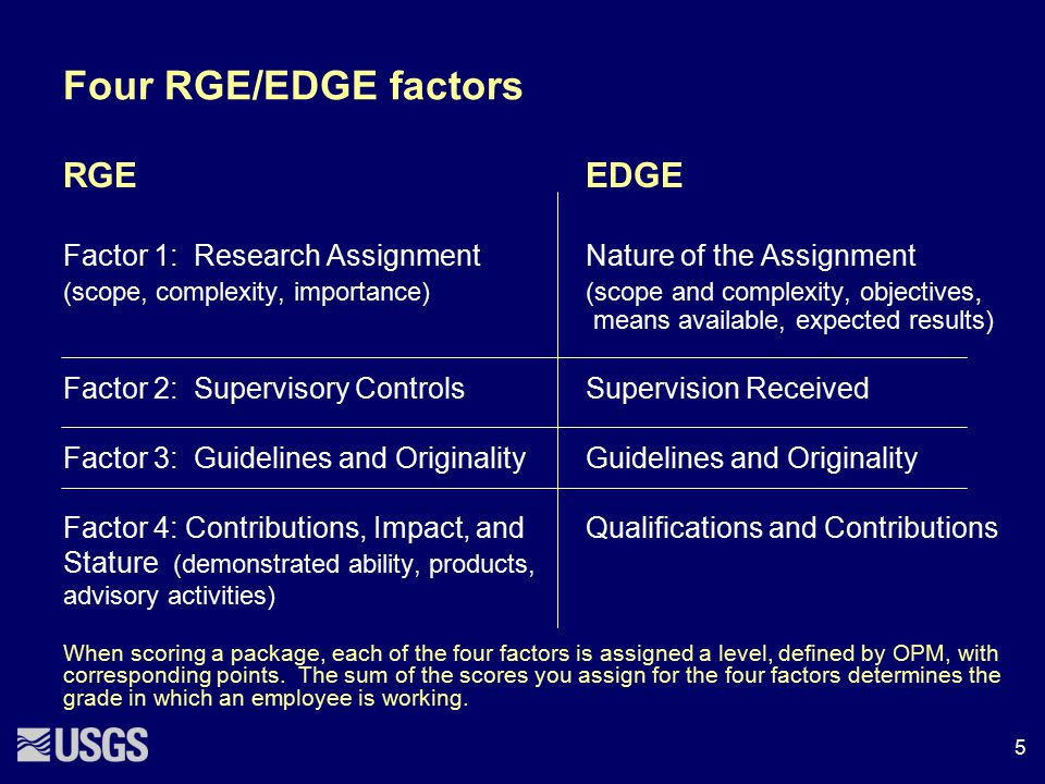 Four RGE/EDGE factors RGE EDGE