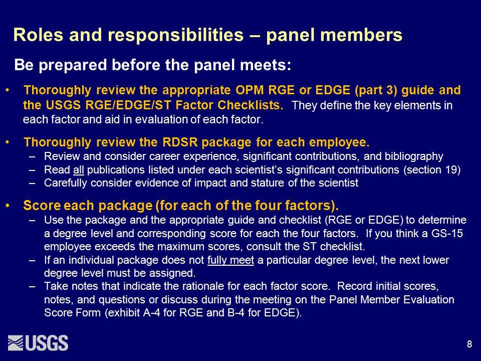 Roles and responsibilities – panel members