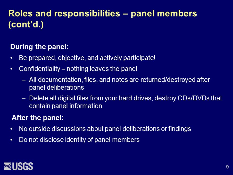 Roles and responsibilities – panel members (cont'd.)