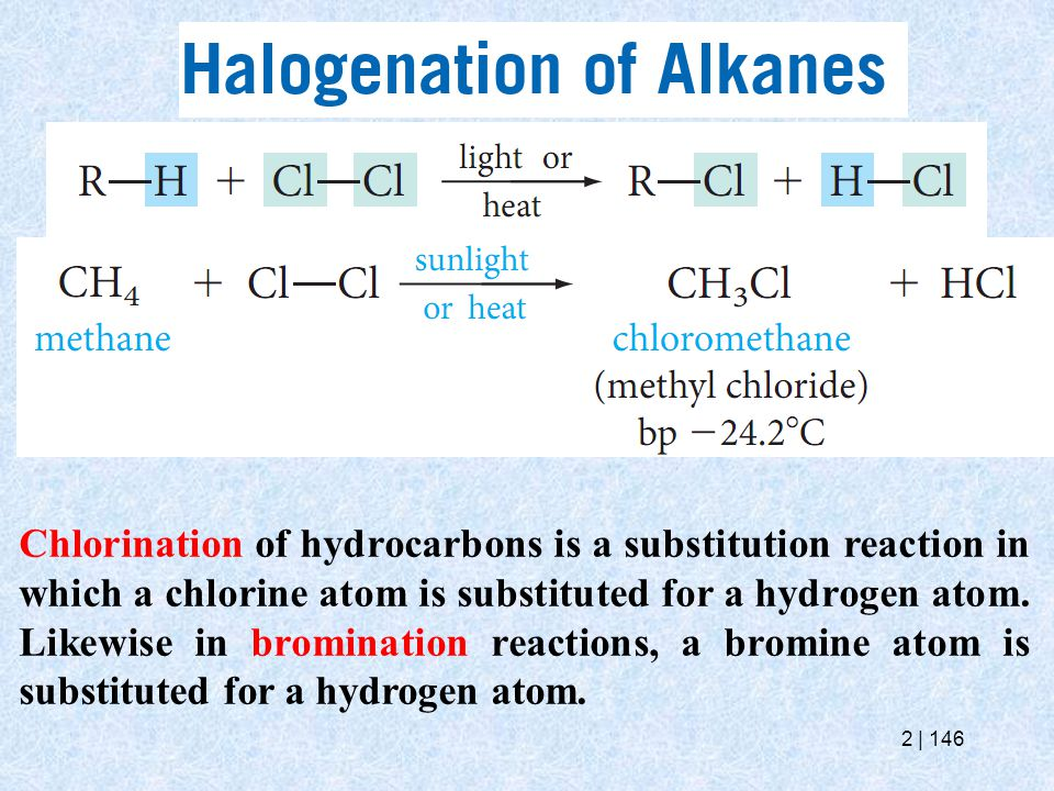 Chlorination of hydrocarbons is a substitution reaction in which a chlorine atom is substituted for a hydrogen atom.