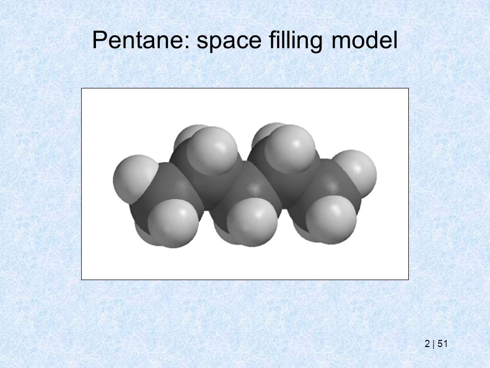 Pentane: space filling model
