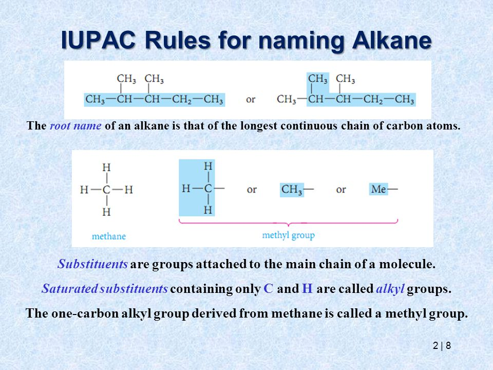 IUPAC Rules for naming Alkane