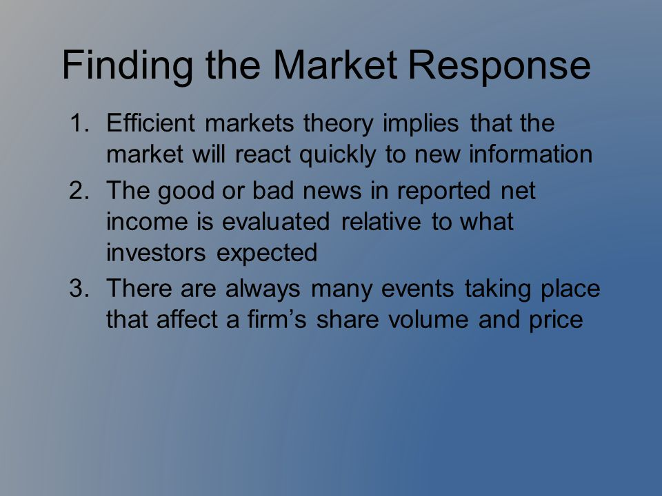 Finding the Market Response
