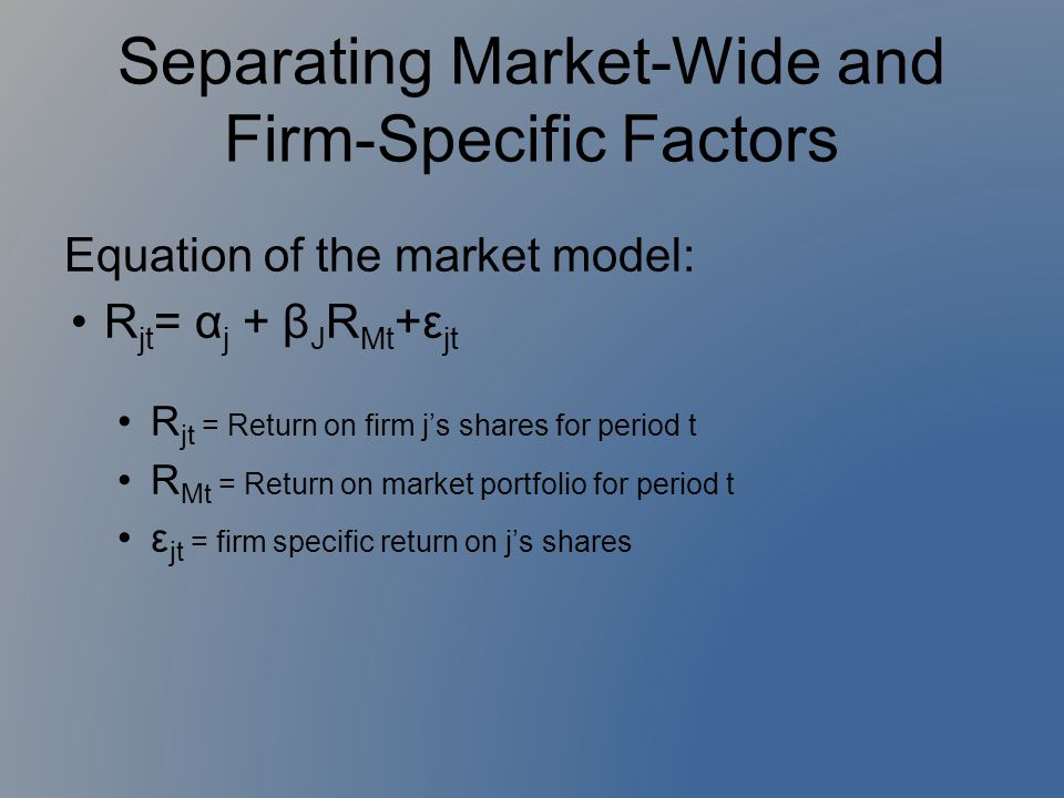 Separating Market-Wide and Firm-Specific Factors