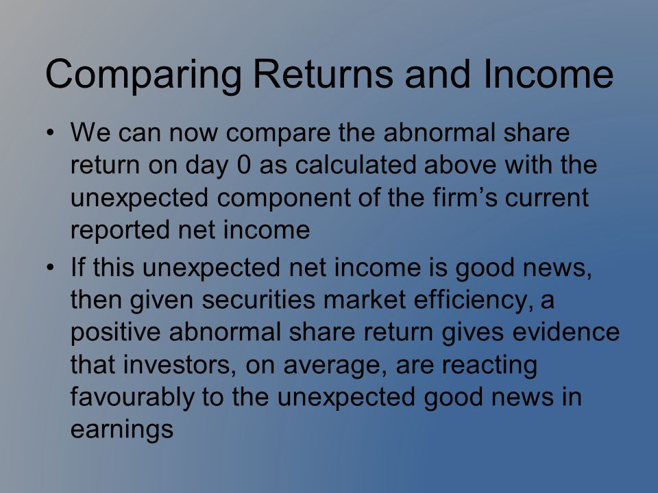 Comparing Returns and Income