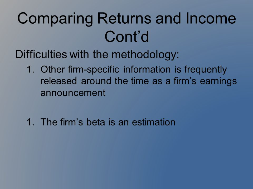 Comparing Returns and Income Cont'd