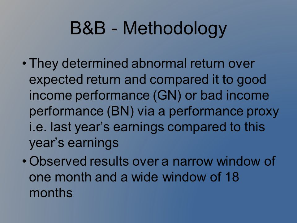 B&B - Methodology