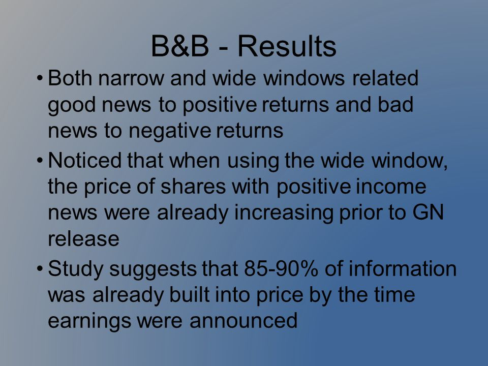 B&B - Results Both narrow and wide windows related good news to positive returns and bad news to negative returns.
