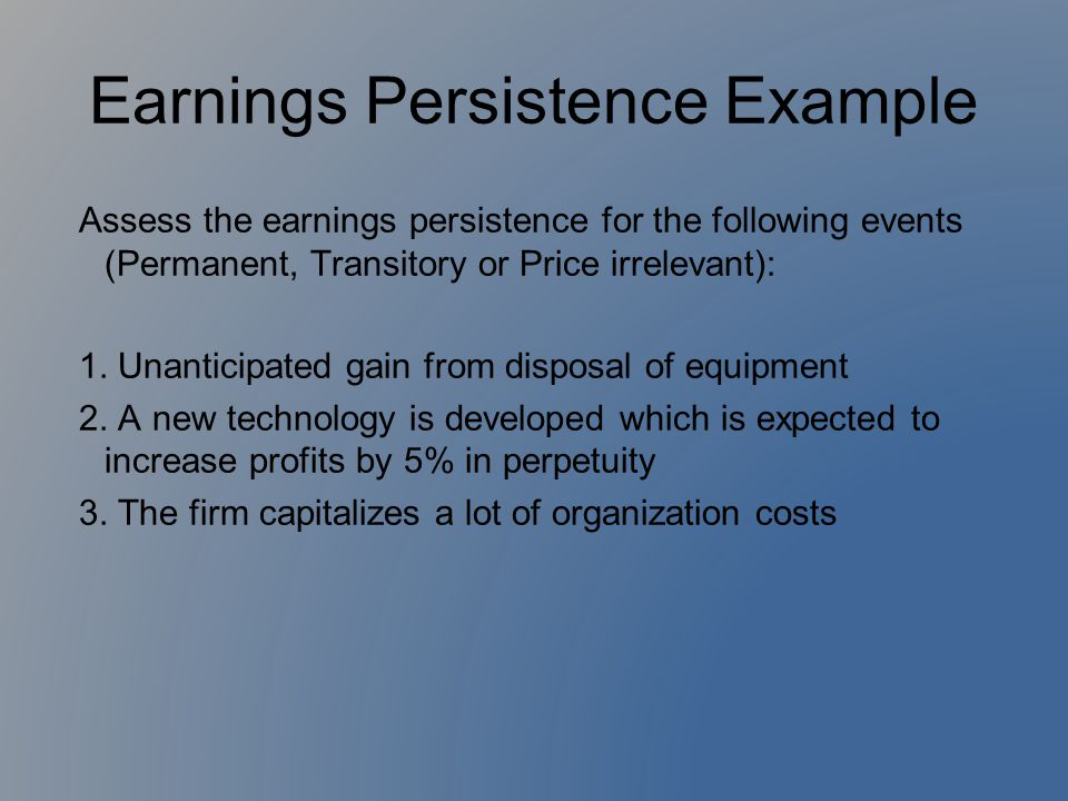 Earnings Persistence Example
