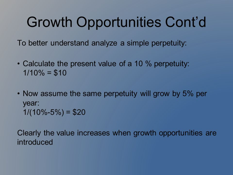 Growth Opportunities Cont'd