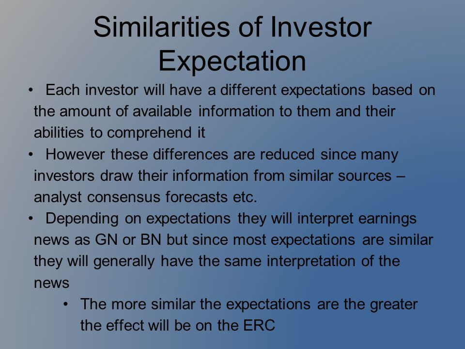 Similarities of Investor Expectation