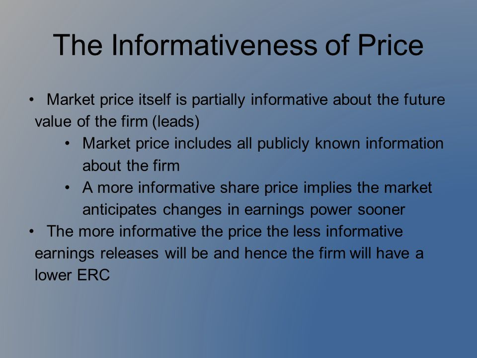 The Informativeness of Price