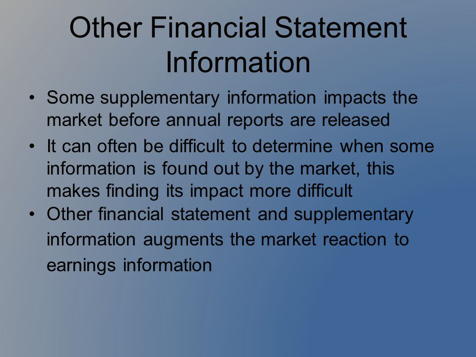 Other Financial Statement Information