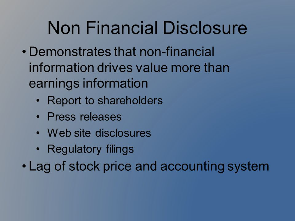 Non Financial Disclosure