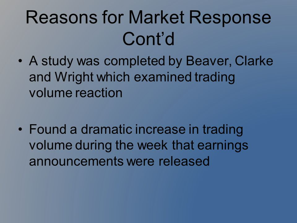 Reasons for Market Response Cont'd