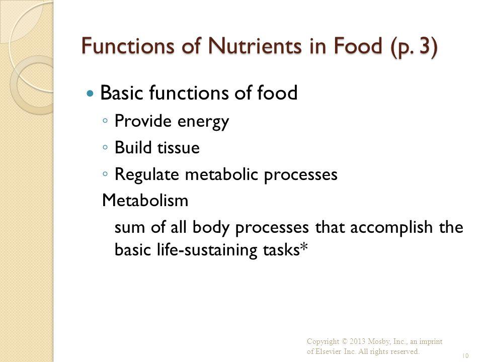 Functions of Nutrients in Food (p. 3)