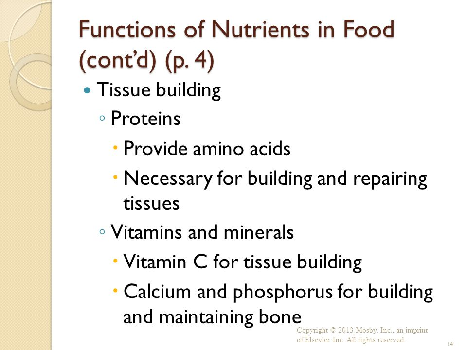 Functions of Nutrients in Food (cont'd) (p. 4)