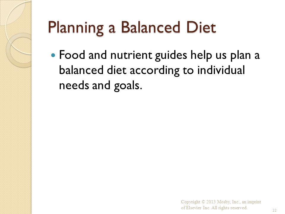Planning a Balanced Diet