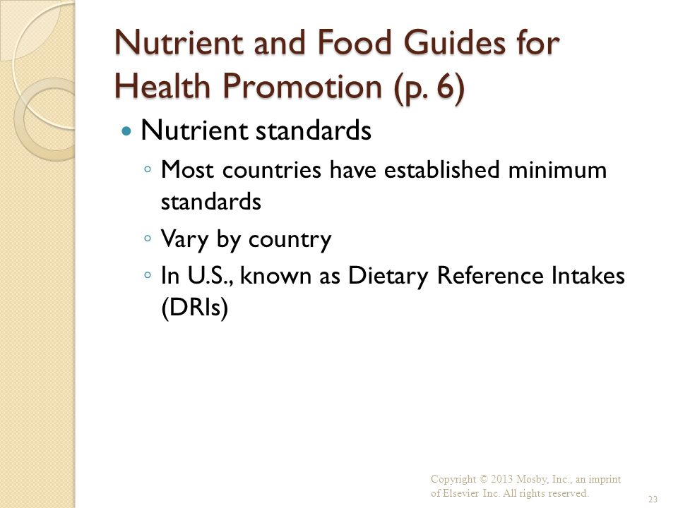 Nutrient and Food Guides for Health Promotion (p. 6)