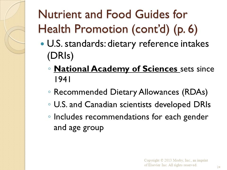 Nutrient and Food Guides for Health Promotion (cont'd) (p. 6)