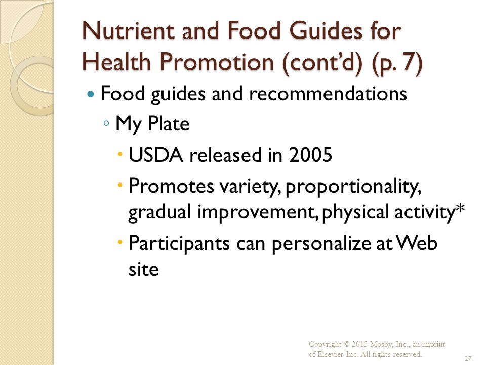 Nutrient and Food Guides for Health Promotion (cont'd) (p. 7)