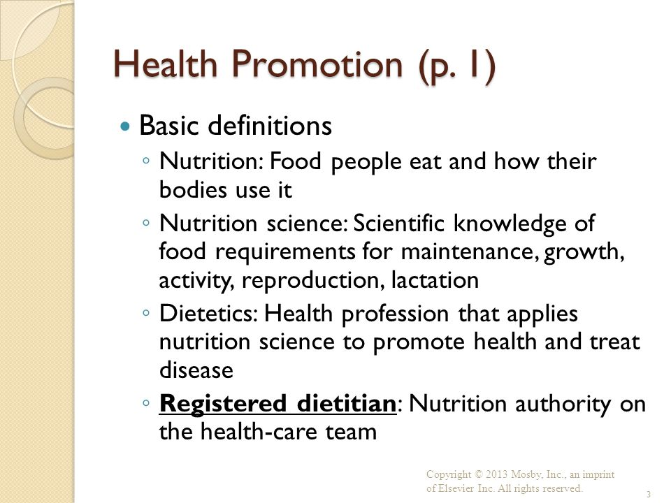 Health Promotion (p. 1) Basic definitions