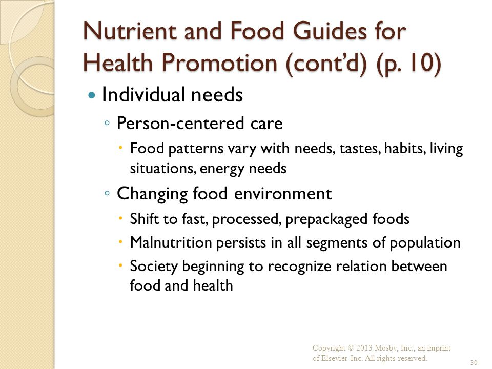 Nutrient and Food Guides for Health Promotion (cont'd) (p. 10)