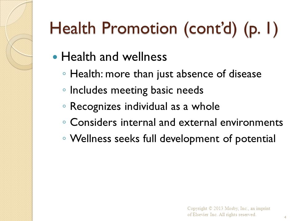 Health Promotion (cont'd) (p. 1)