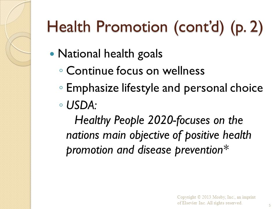 Health Promotion (cont'd) (p. 2)
