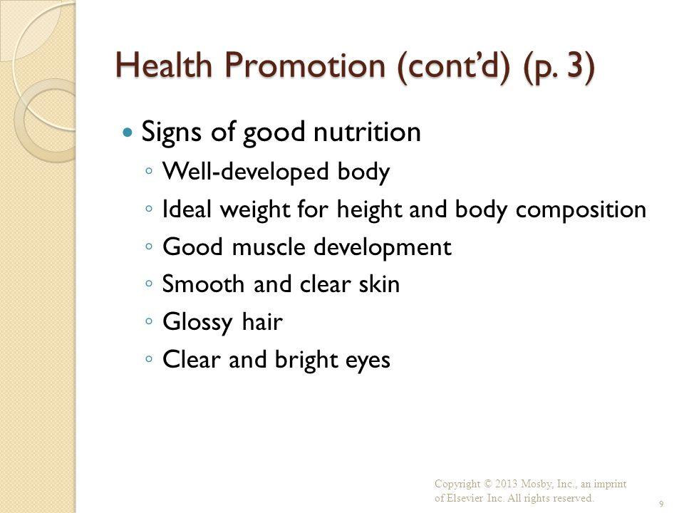 Health Promotion (cont'd) (p. 3)