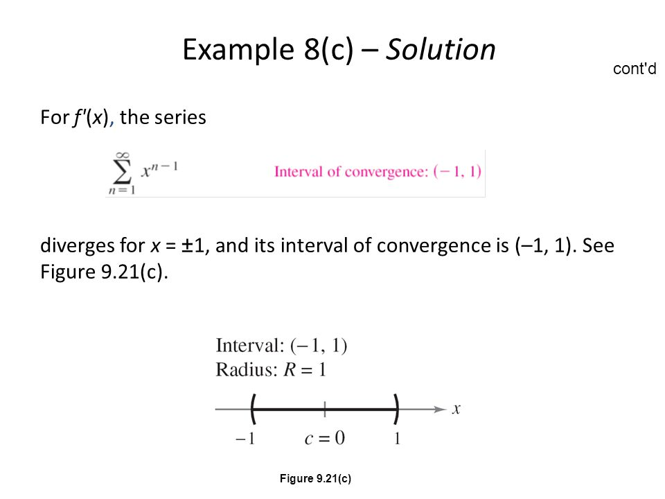 Example 8(c) – Solution For f (x), the series