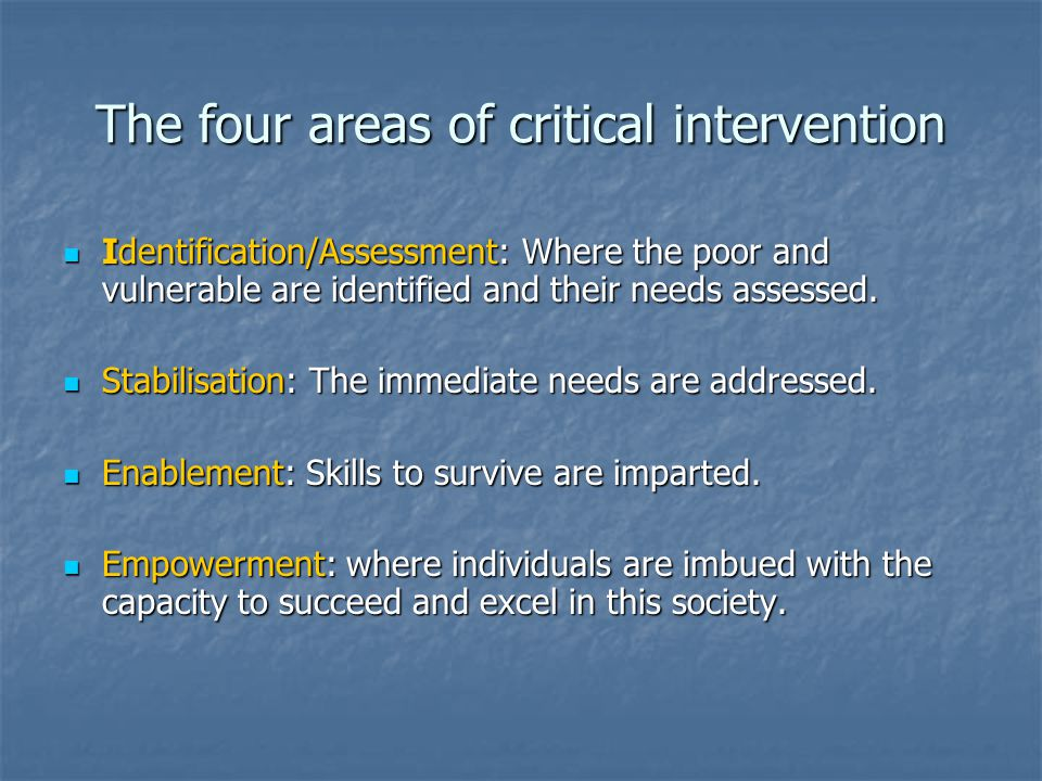 The four areas of critical intervention