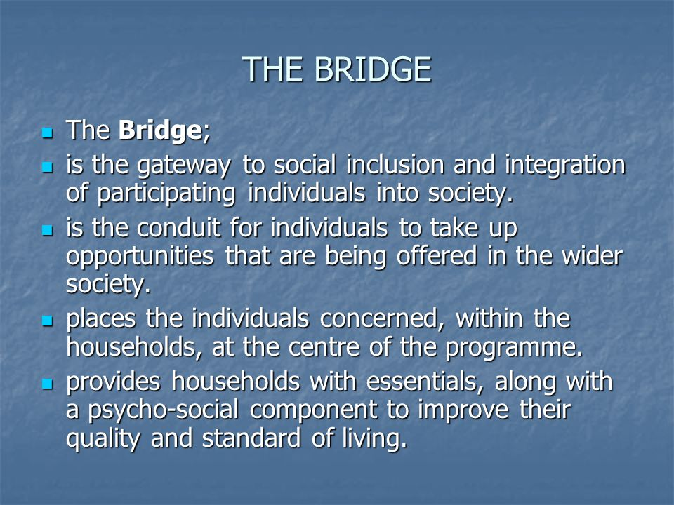 THE BRIDGE The Bridge; is the gateway to social inclusion and integration of participating individuals into society.