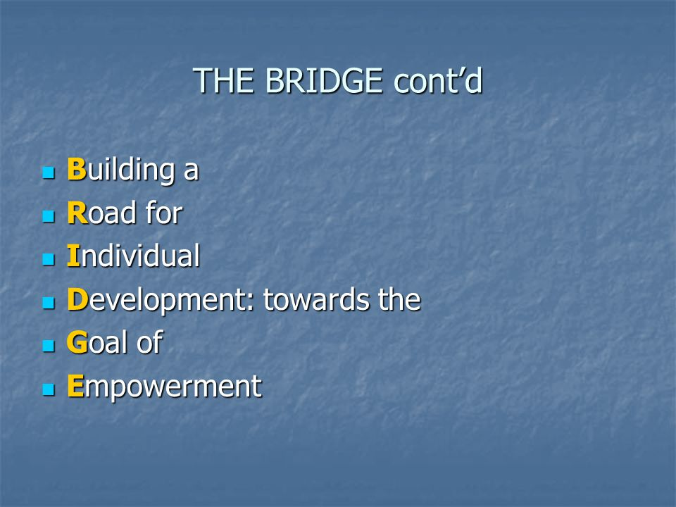 THE BRIDGE cont'd Building a Road for Individual