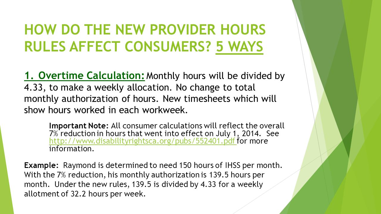 HOW DO THE NEW PROVIDER HOURS RULES AFFECT CONSUMERS 5 WAYS