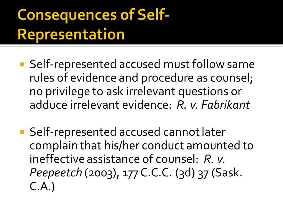 Consequences of Self-Representation