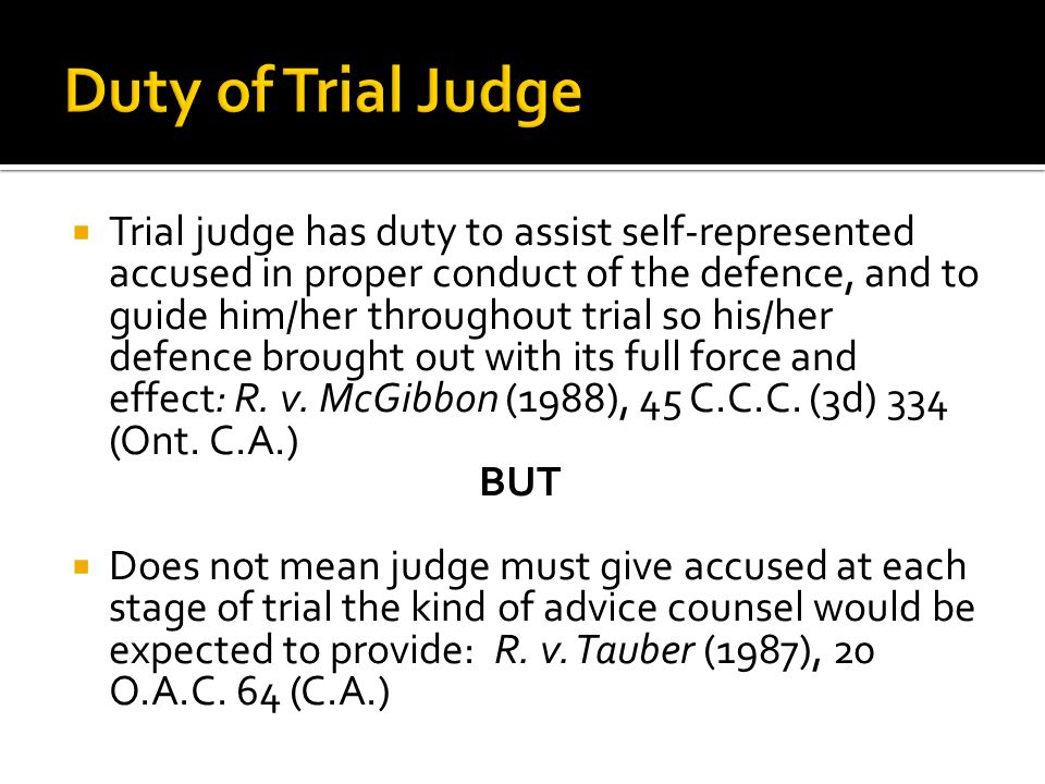 Duty of Trial Judge
