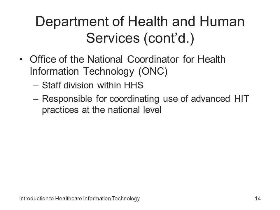 Department of Health and Human Services (cont'd.)