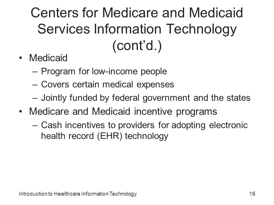 Centers for Medicare and Medicaid Services Information Technology (cont'd.)