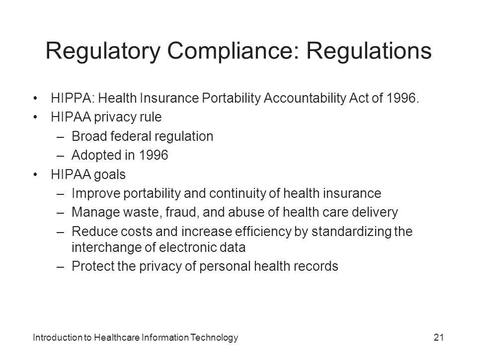 Regulatory Compliance: Regulations