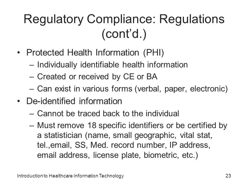 Regulatory Compliance: Regulations (cont'd.)