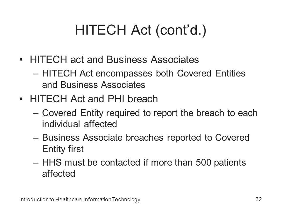 HITECH Act (cont'd.) HITECH act and Business Associates