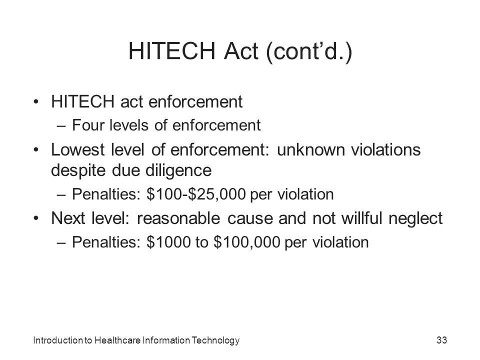 HITECH Act (cont'd.) HITECH act enforcement