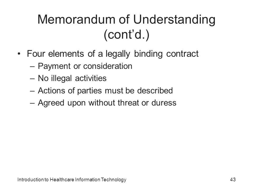 Memorandum of Understanding (cont'd.)