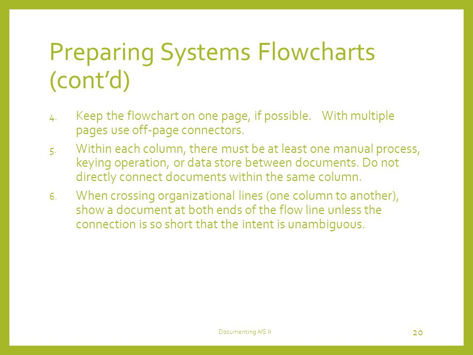 Preparing Systems Flowcharts (cont'd)