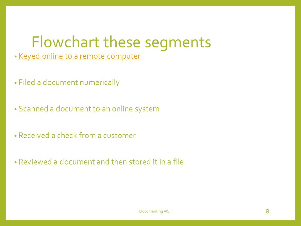 Flowchart these segments