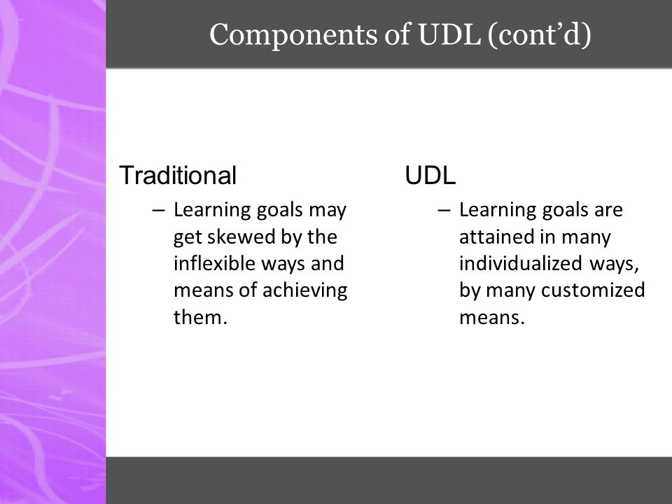 Components of UDL (cont'd)